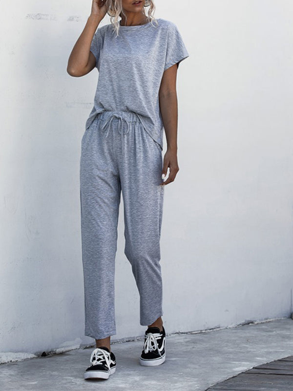 Casual Round Neck Short Sleeve Solid Jumpsuit - Luckinchic