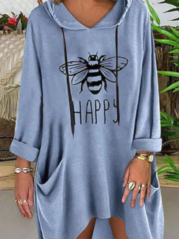 Bee Print Cat Ear Hooded Casual Pockets Drawstring T-Shirt Top - Luckinchic