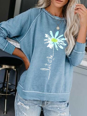 Casual Round Neck Daisy Print Loose Pullover Long Sleeve Top - Luckinchic
