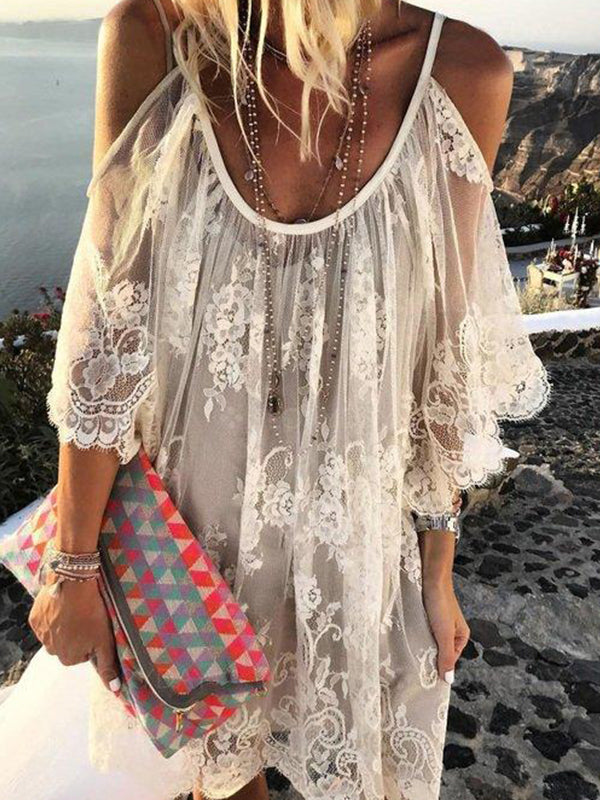 Off Shoulder Lace Embroidered Skater Shift Dresses - LuckinChic.com