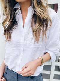 Casual Solid Color Button Down Shirt Long Sleeve Blouse - Luckinchic