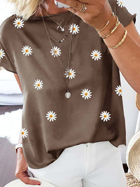 Casual Round Neck Daisy Printed Short Sleeve T-Shirt - Luckinchic