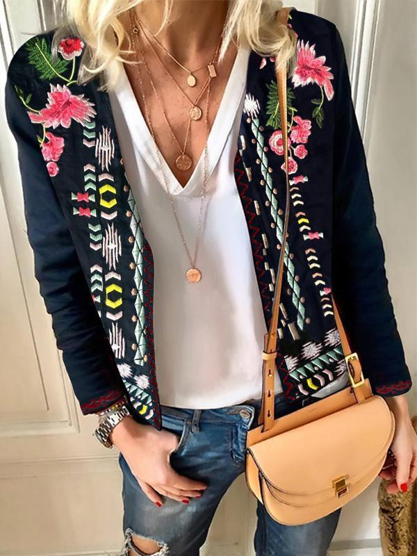 Embroidered Floral Long Sleeve Round Neck Jackets - Luckinchic - LuckinChic.com