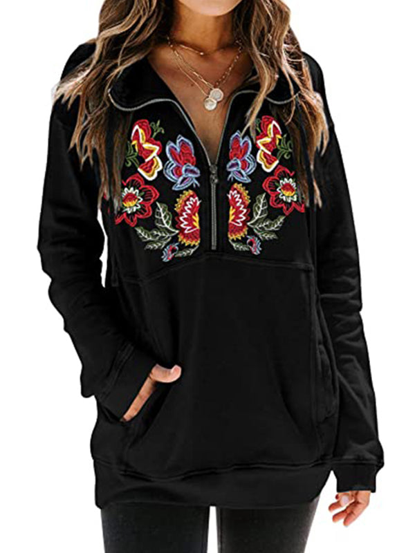 Half Zipper Embroidered Floral Long Sleeve Hoodies With Pockets - Luckinchic