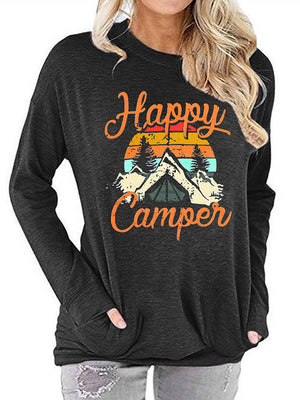 Casual Round Neck Happy Camper Letters Print Long Sleeve T-Shirt Top - Luckinchic