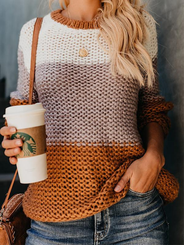 Casual Striped Round Neck Pullover Long Sleeve Sweater - LuckinChic.com