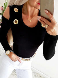 Casual U Neck Solid Long Sleeve Cutout Cold Shoulder T-Shirt Top- Luckinchic