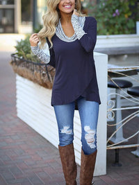 Long Sleeve Stripe Casual Irregular Hem T shirt - Luckinchic - LuckinChic.com