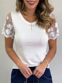 Casual Round Neck Solid Color Lace Short Sleeve T-Shirt - Luckinchic