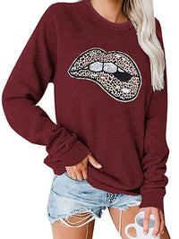 Casual Round Neck Lip Print Long Sleeve Pullover Sweatshirt Top - Luckinchic