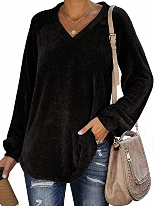Casual V Neck Solid Color Long Sleeve Plus Size T-Shirt Top - Luckinchic