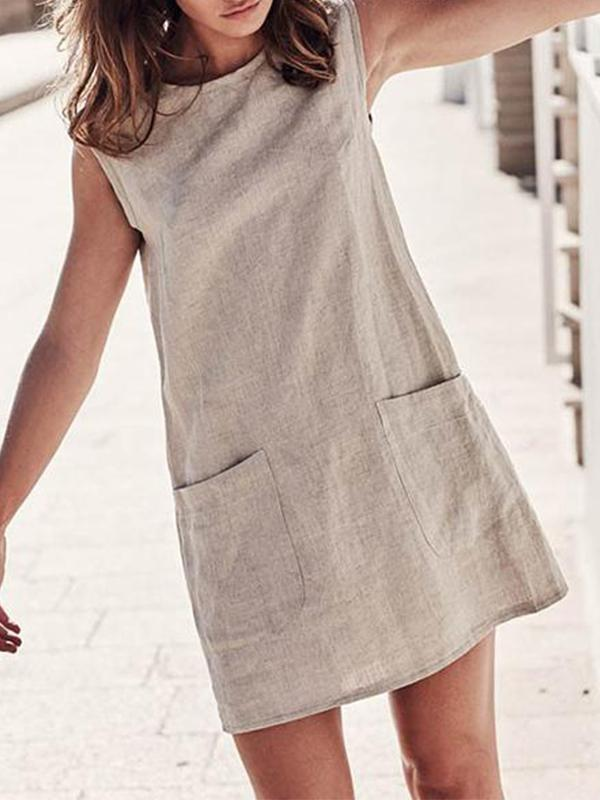 Fashion Crew Neck Solid Pocket Dresses