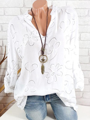Clearance - Floral Casual V Neck Long Sleeve Blouses - Luckinchic - LuckinChic.com
