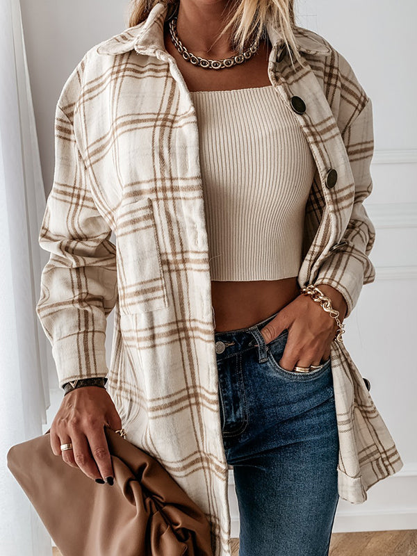 Casual Retro Plaid Shirt Long Sleeve Blouse Coat - Luckinchic