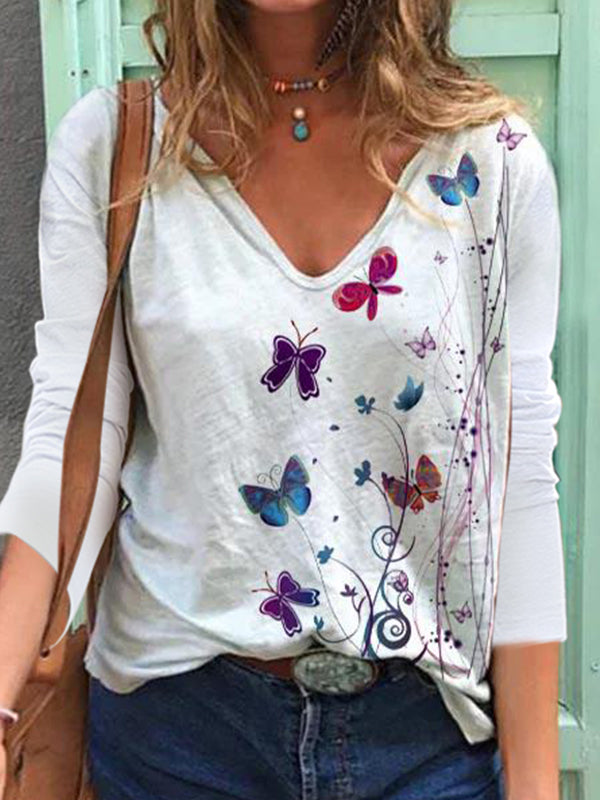 Casual V Neck Butterfly Print Long Sleeve T-Shirt Top - Luckinchic
