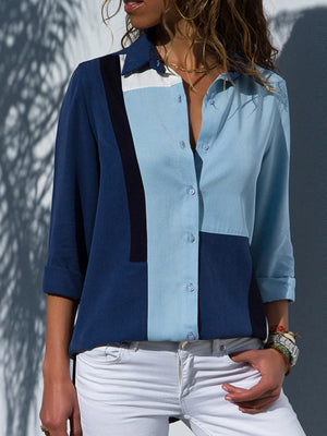 Casual V Neck Chiffon Solid Patchwork Long Sleeve Shirt - Luckinchic