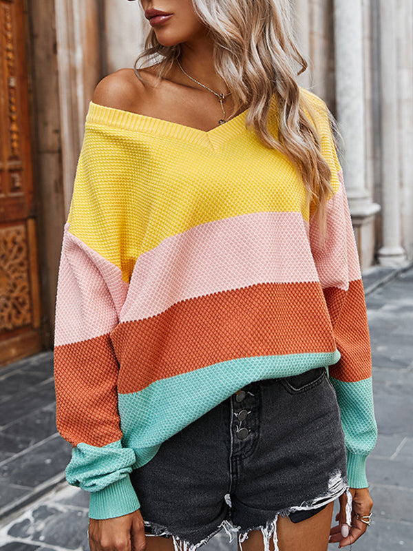 Casual V Neck Color Block Striped Sweater Top - Luckinchic