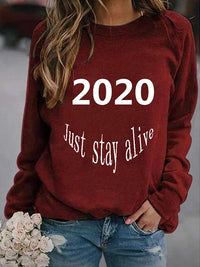 Casual Round Neck Letters 2020 Print Pullover Sweatshirt Long Sleeve Top - Luckinchic