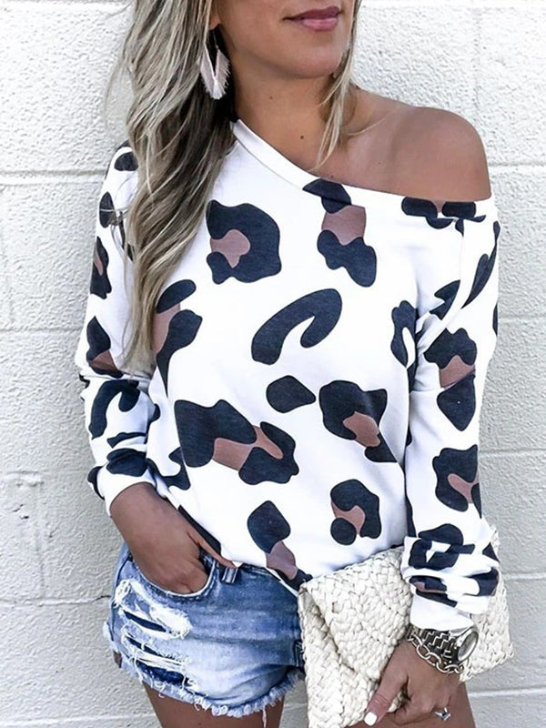 Casual Round Neck Leopard Print Long Sleeve Top - Luckinchic