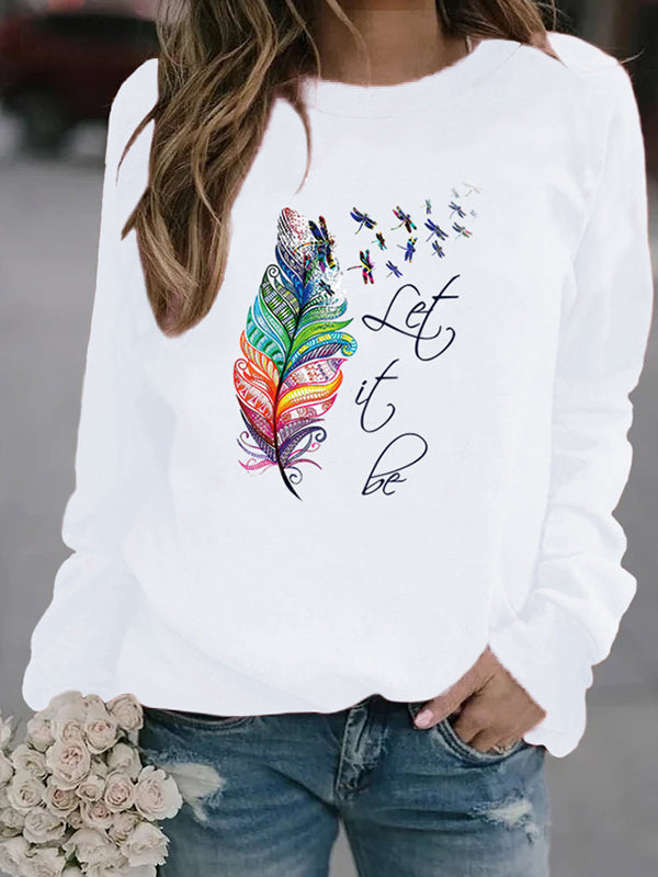 Casual Round Neck Dragonfly Letter Print Long Sleeve Sweatshirt Top - Luckinchic