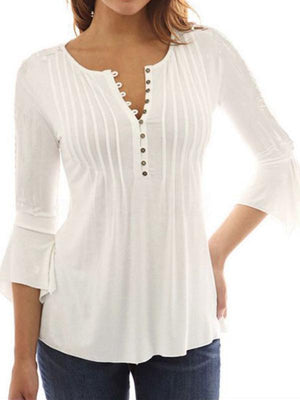 Solid 3/4 Sleeve V Neck Blouse