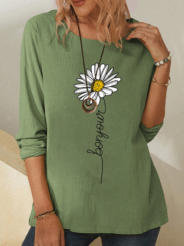 Casual Round Neck Daisy Print Long Sleeve Loose T-Shirt Top - Luckinchic