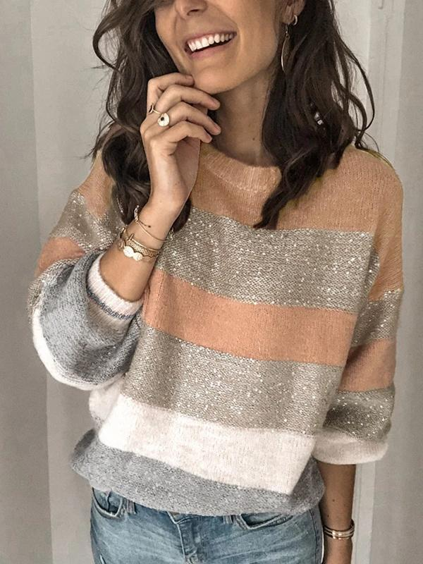 Colorblock Round Pullover Sweater - LuckinChic.com