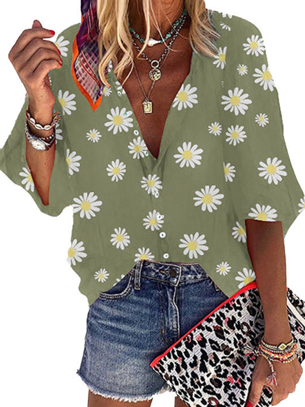 Casual V Neck Daisy Print Half Sleeve Loose T-Shirt - Luckinchic