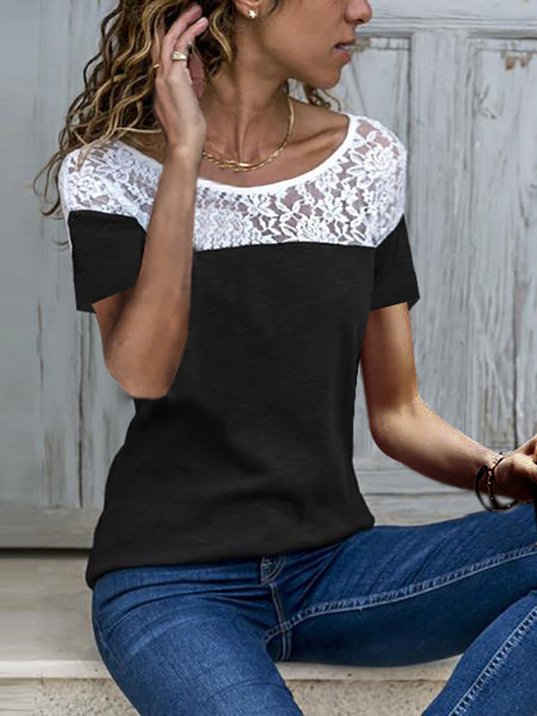 Clearance - Short Sleeve Casual solid Lace Round Neck T-Shirts - Luckinchic - LuckinChic.com