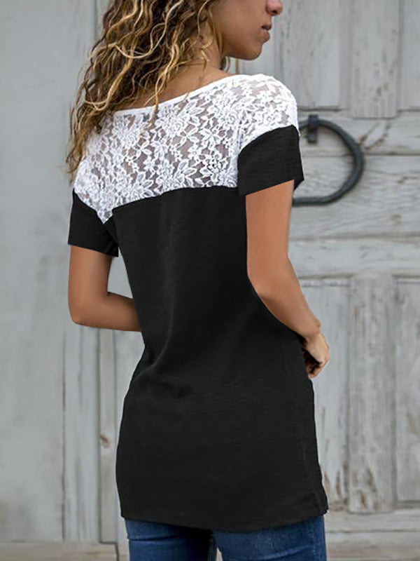 Short Sleeve Casual solid Lace Round Neck T-Shirts - LuckinChic.com