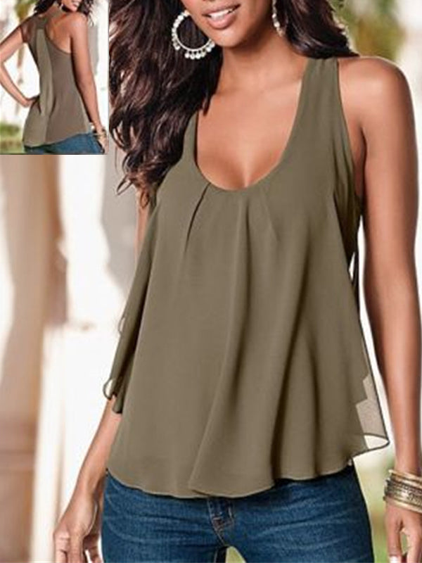 Paneled Sleeveless Chiffon Casual Tank - LuckinChic.com