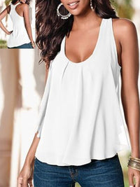 Paneled Sleeveless Chiffon Casual Tank