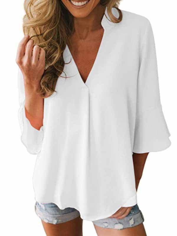 Flare Sleeve V Neck Solid Chiffon Blouse
