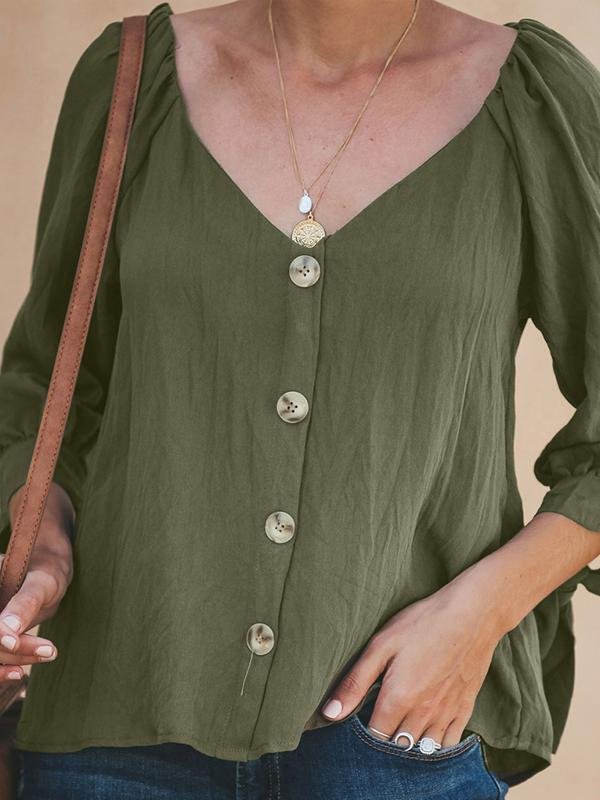 Button V Neck 3/4 Sleeve Casual Blouse