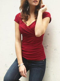 Casual V-Neck Short Sleeve Solid Front Criss-Cross T-Shirt