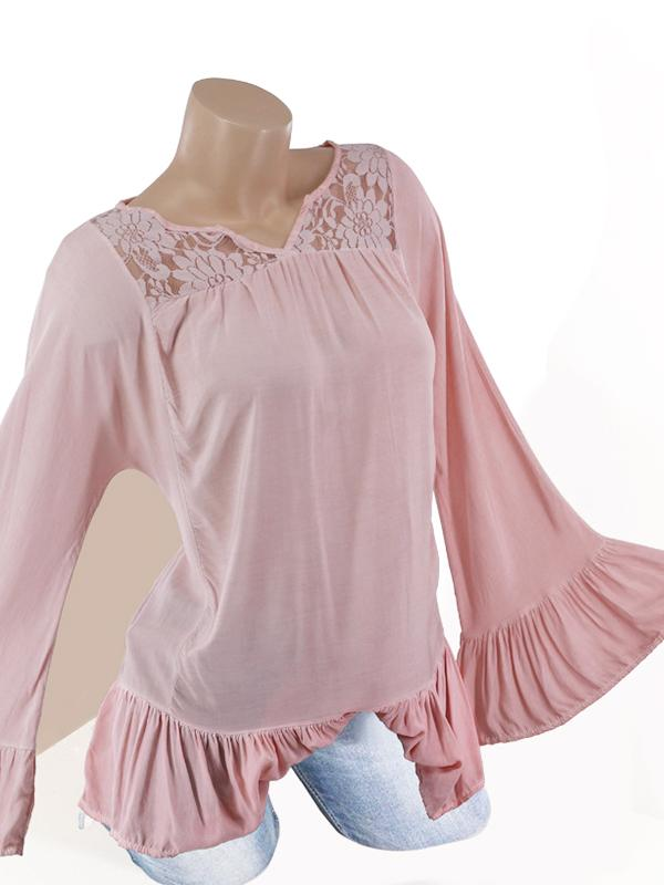 Faded Wash Flare Sleeve Lace V Neck Blouse