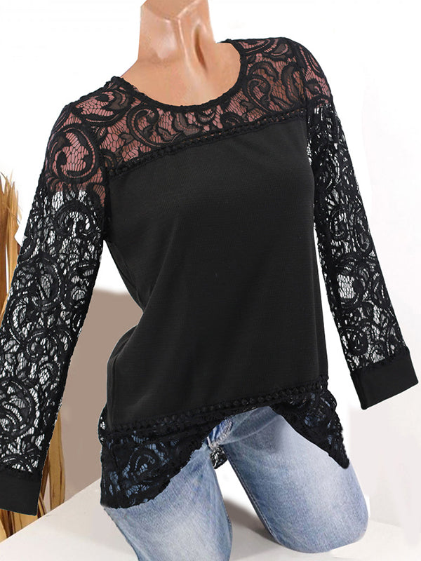 Solid Lace Long Sleeve T Shirts