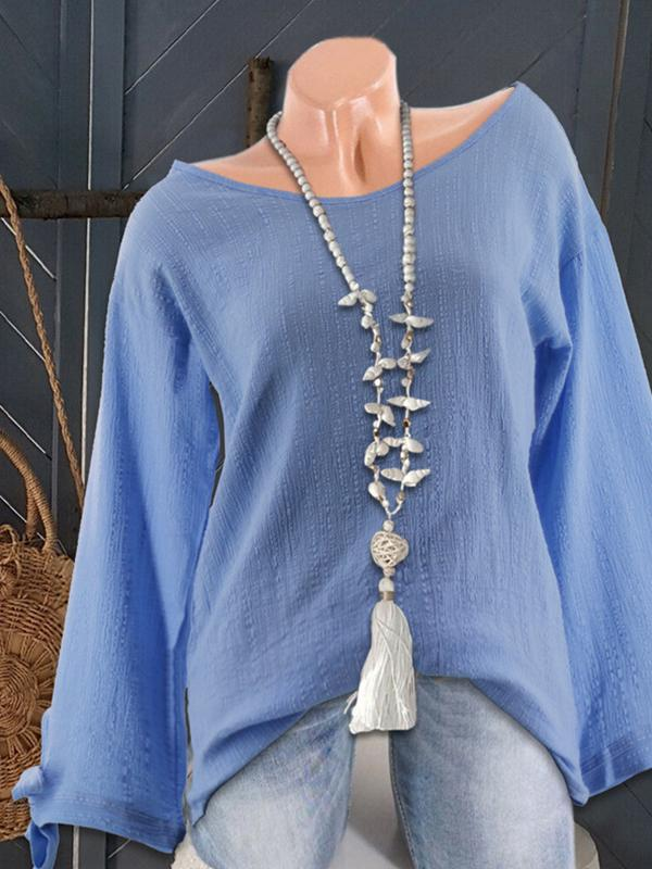 Bow Cuff Long Sleeve Loose Blouse