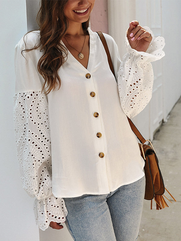 Solid Long Sleeve Button Blouse