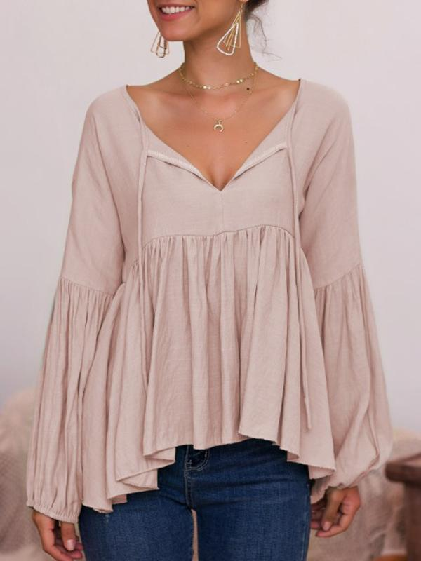 Casual V-Neckline Long Sleeve Blouses