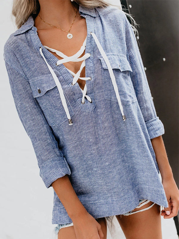 Lace Up Sexy V Neck Striped Shirts
