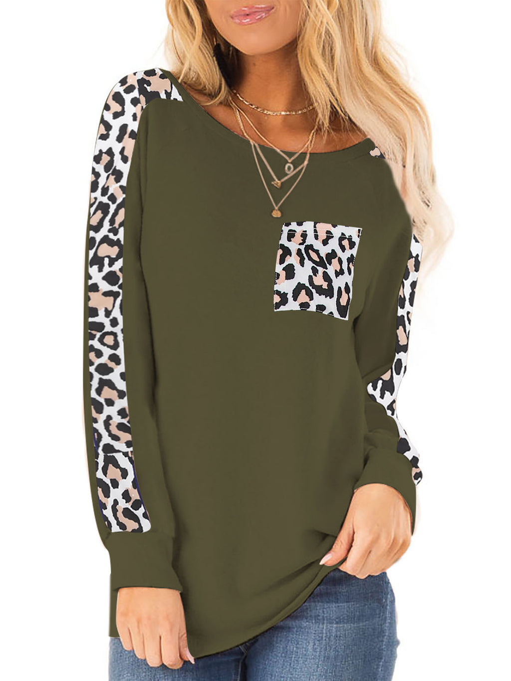Leopard Printed Long Sleeve Round Neck T Shirts - Luckinchic - LuckinChic.com