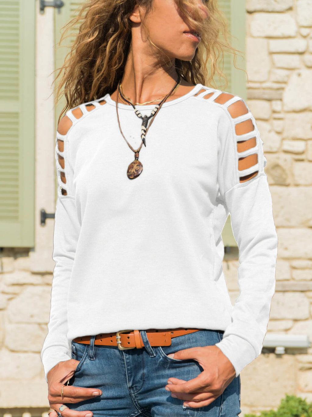 Hollow Out Long Sleeve Round Neck T Shirts