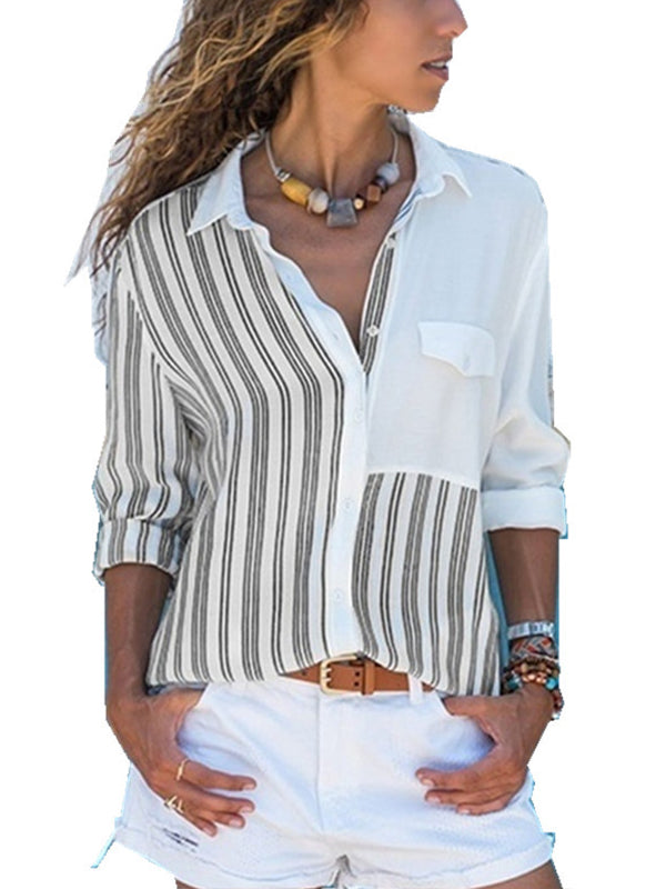 V Neck Roll up Sleeve Button Down Blouses