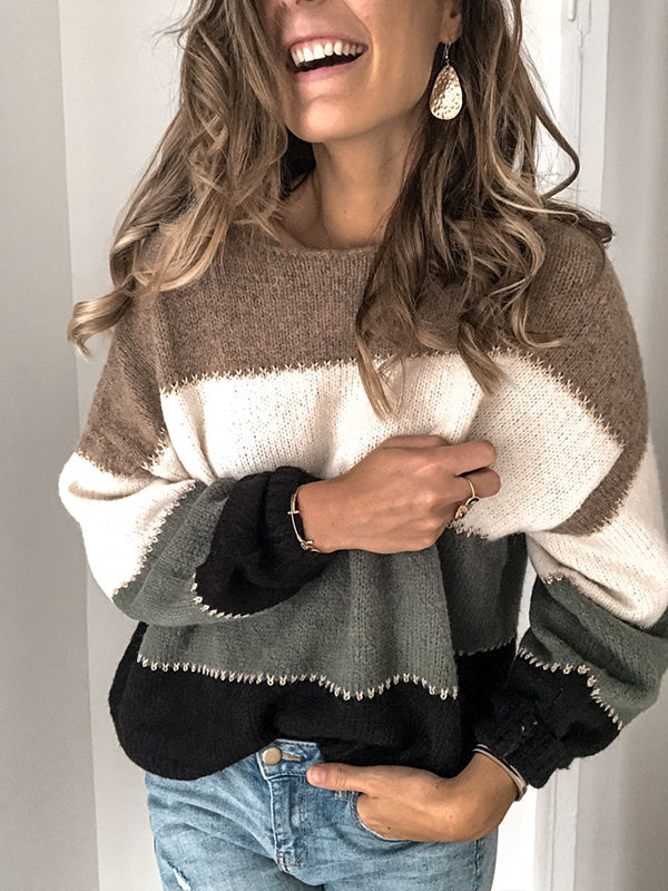 Pullover Long Sleeve Casual Sweater - Luckinchic - LuckinChic.com
