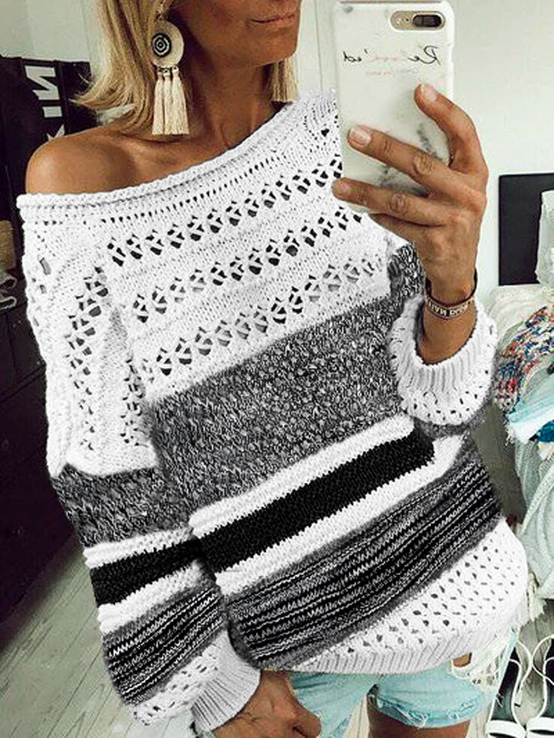 Striped Openwork Long Sleeve Pullover Sweater - LuckinChic.com