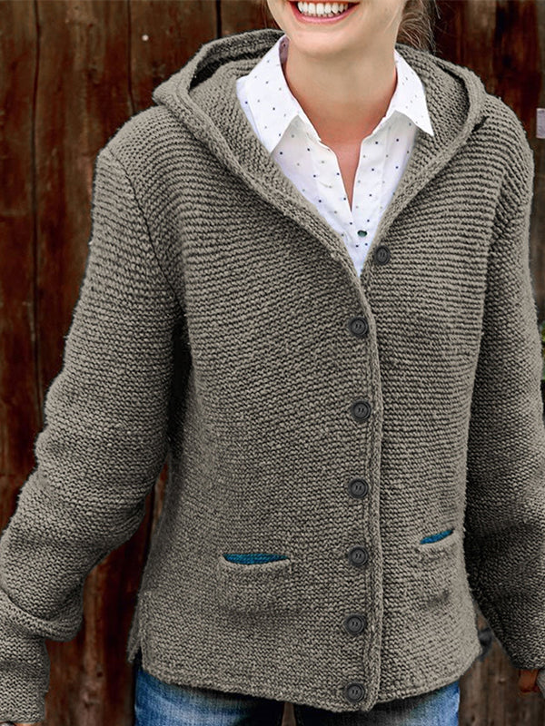Hooded Long Sleeve Knitted Sweater Cardigan - LuckinChic.com