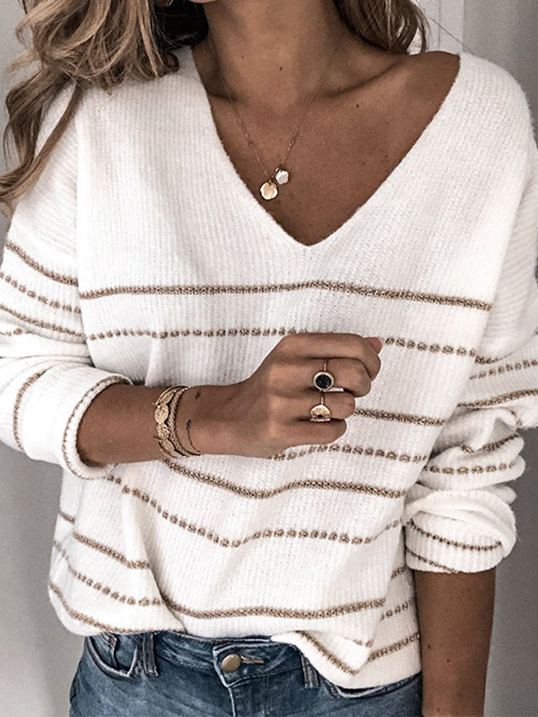 Soft Casual V-neck Contrast Line Long Sleeve Pullover Sweater - LuckinChic.com
