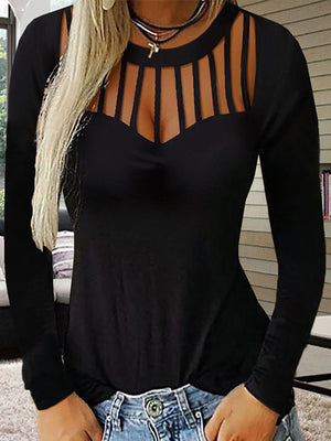 Sexy Hollow Out Round Neck Long Sleeve T Shirt - Luckinchic - LuckinChic.com