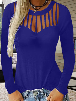Sexy Hollow Out Round Neck Long Sleeve T Shirt - Luckinchic